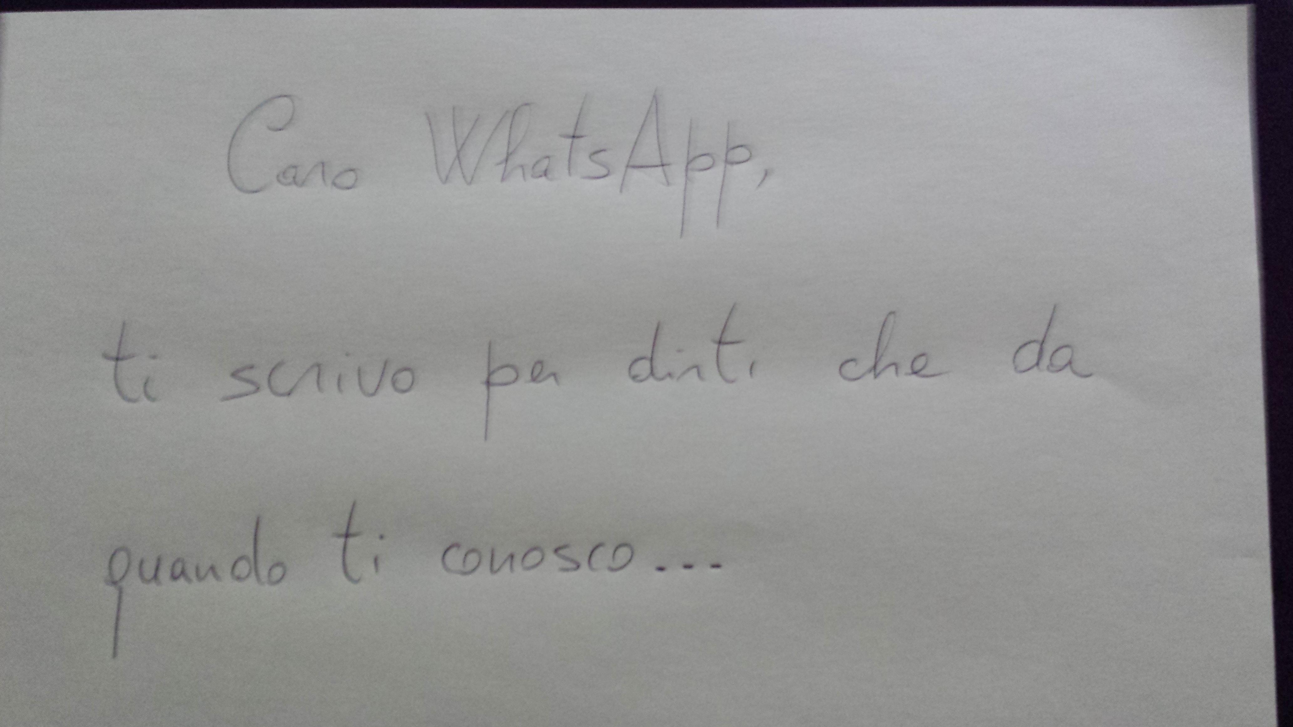 Dove abiti? In WhatsApp.